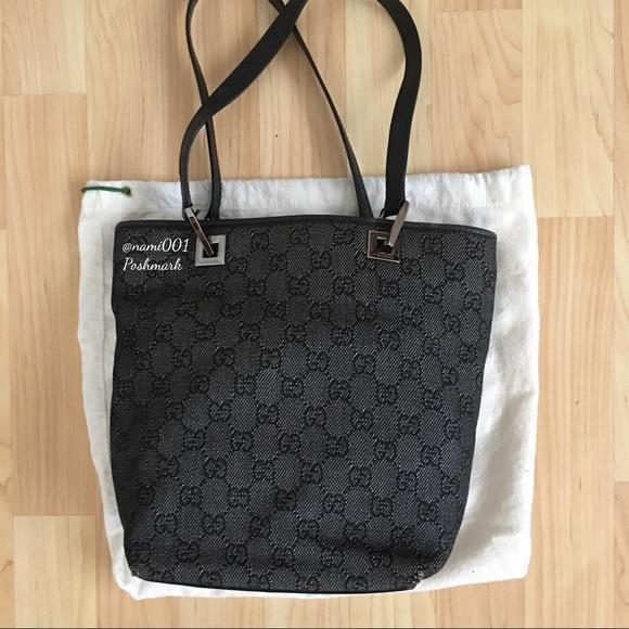 a232b949a7a4 Gucci Bags   Monogram Canvas Bucket Bag Purse Dark Gray   Poshmark